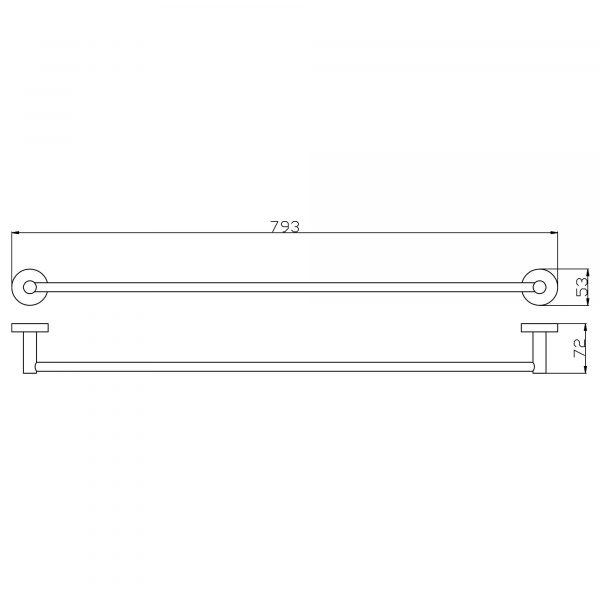 RUND 790mm Brushed Nickel Single Towel Rail 2