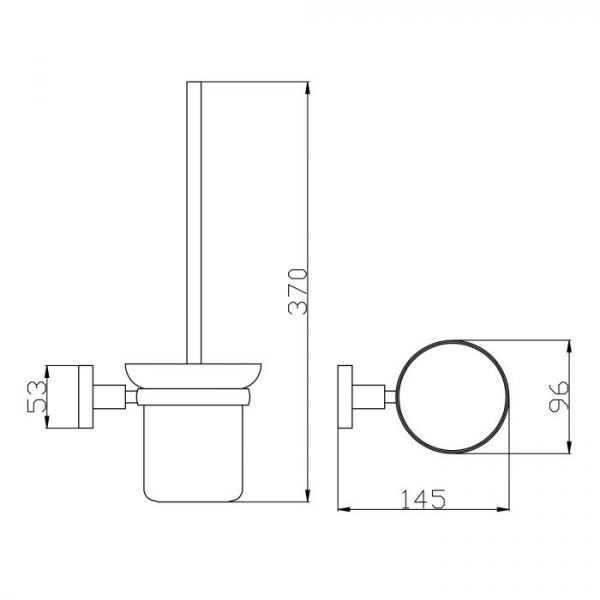 RUND Black Toilet Brush Holder 2