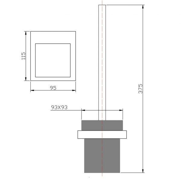 KOMPAKT ECKIG Chrome Toilet Brush Holder 3