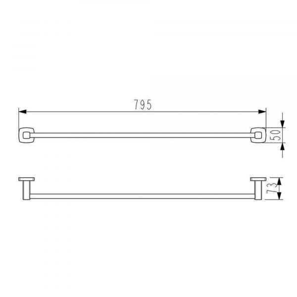 LUXUS 800mm Brushed Nickel Single Towel Rail 2