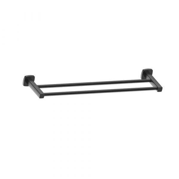 LUXUS 800mm Black Double Towel Rail