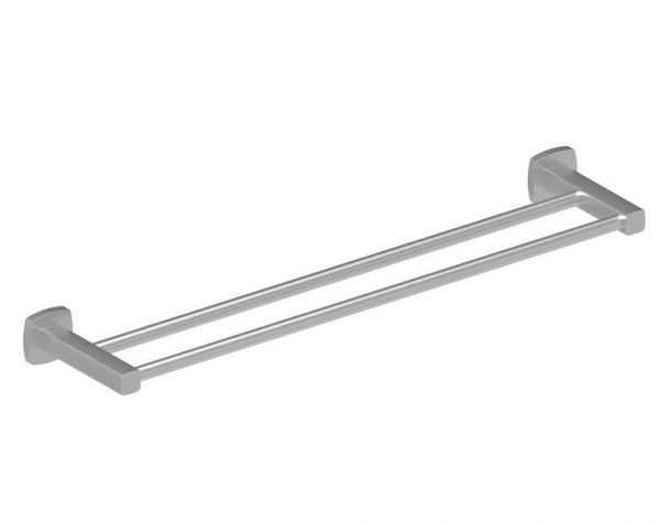 LUXUS 600mm Brushed Nickel Double Towel Rail