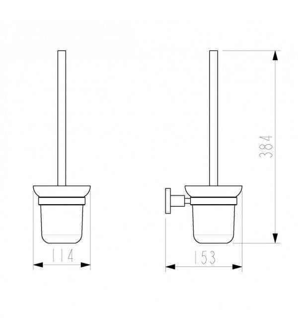 LUXUS Chrome Toilet Brush Holder 2