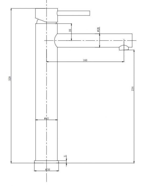 RUND Chrome Tall Basin Mixer 2