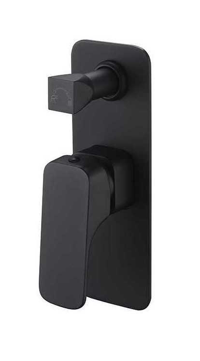 KOMPAKT ECKIG Black Wall Mixer with Diverter (Slim Plate)