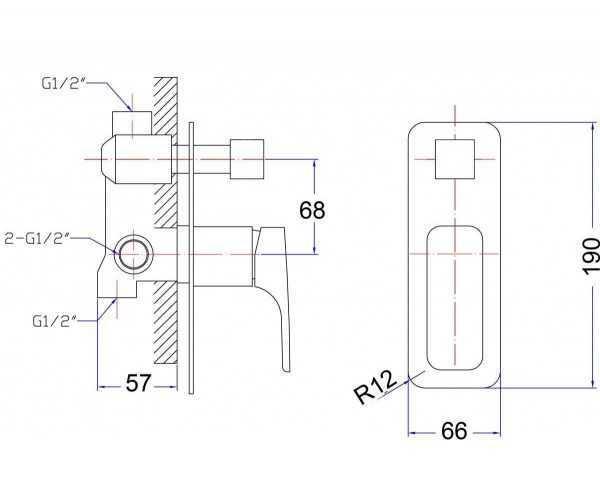 KOMPAKT ECKIG Black Wall Mixer with Diverter (Slim Plate) 2