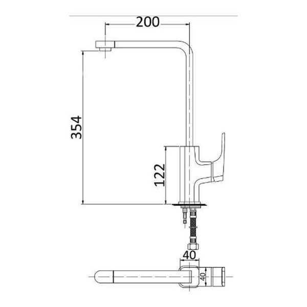 KOMPAKT ECKIG Swivel Chrome Sink Mixer 2