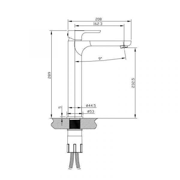 LUXUS Brushed Nickel Tall Basin Mixer 2
