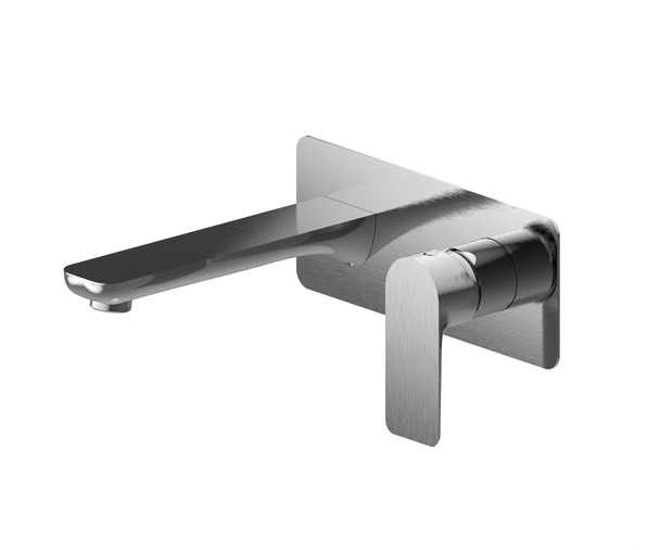 LUXUS Brushed Nickel Wall Mixer with Spout