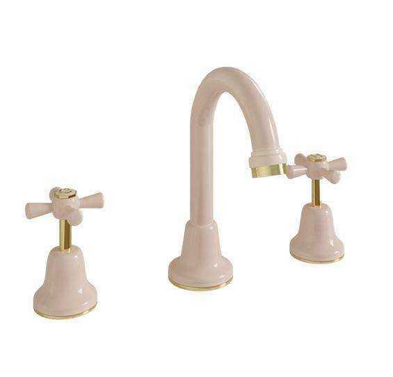 Basin Set Tapware - Ivory/Gold