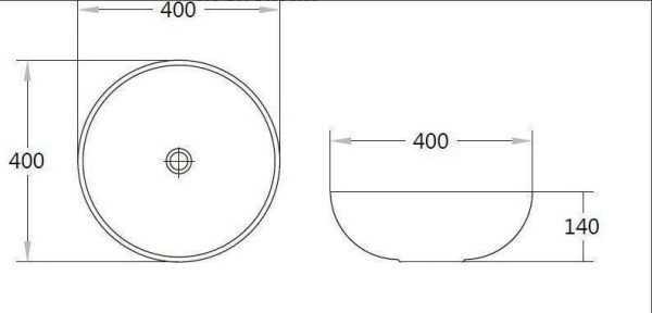 Matte White Ceramic Basin 400x400x140mm 2