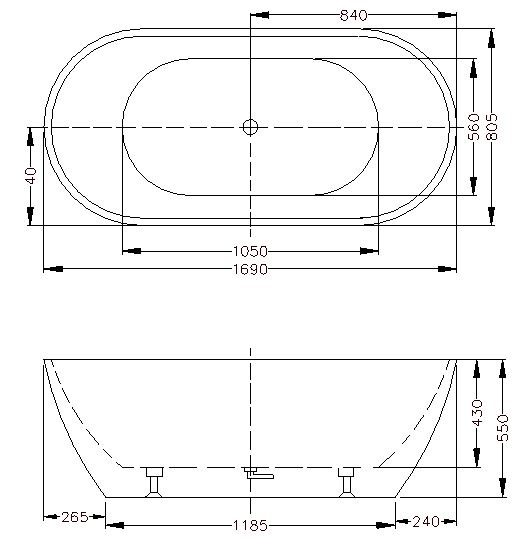 OLIVIA 1700mm Freestanding Bathtub 2