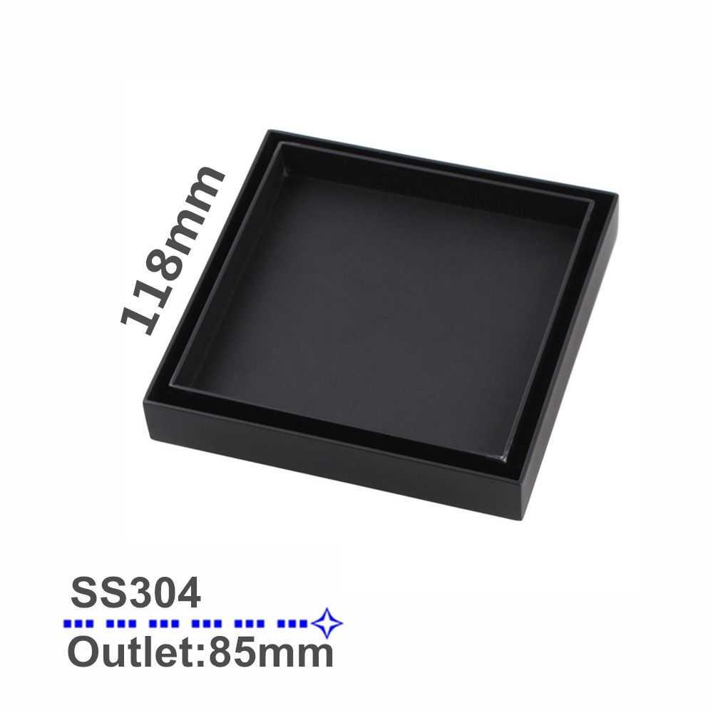 120mm Black Square Smart Tile Insert Floor Waste
