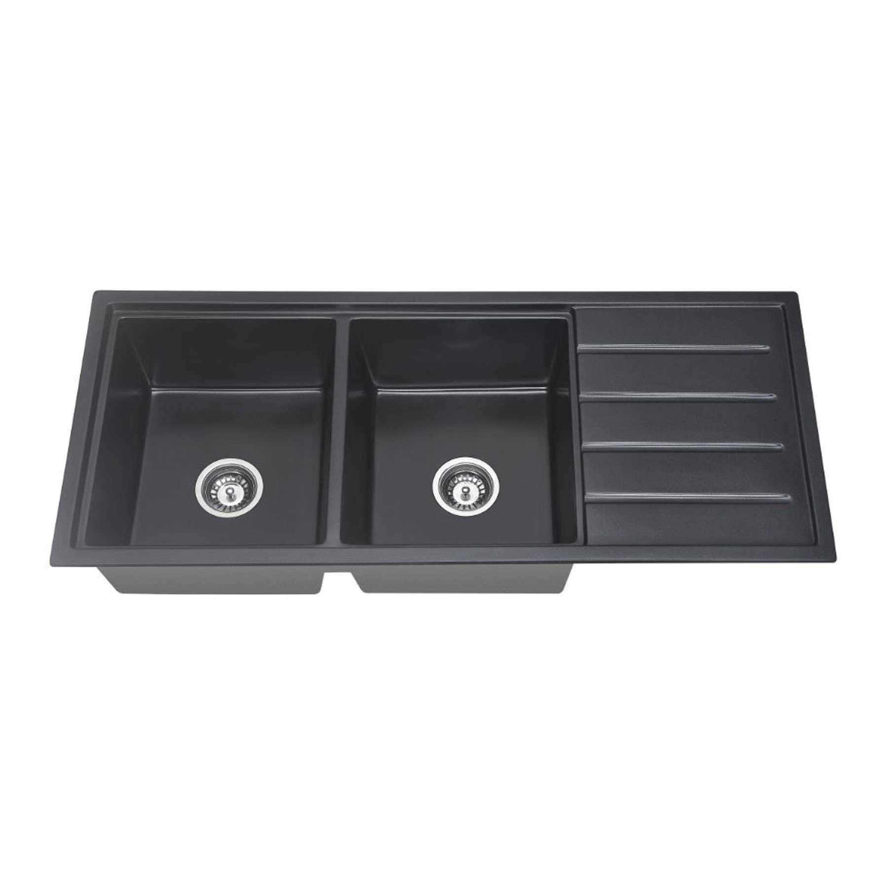 ARCKO GRANITE 1160mm Double Bowl Sink with Drainer
