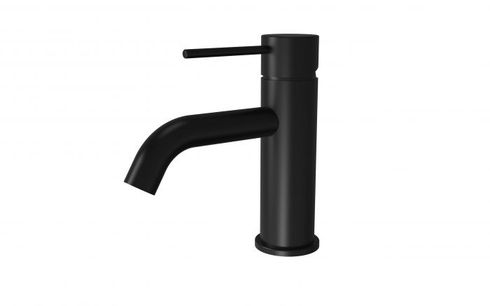 RUND Black Basin Mixer with Curved Spout