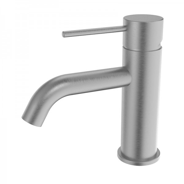 RUND Brushed Nickel Basin Mixer with Curved Spout