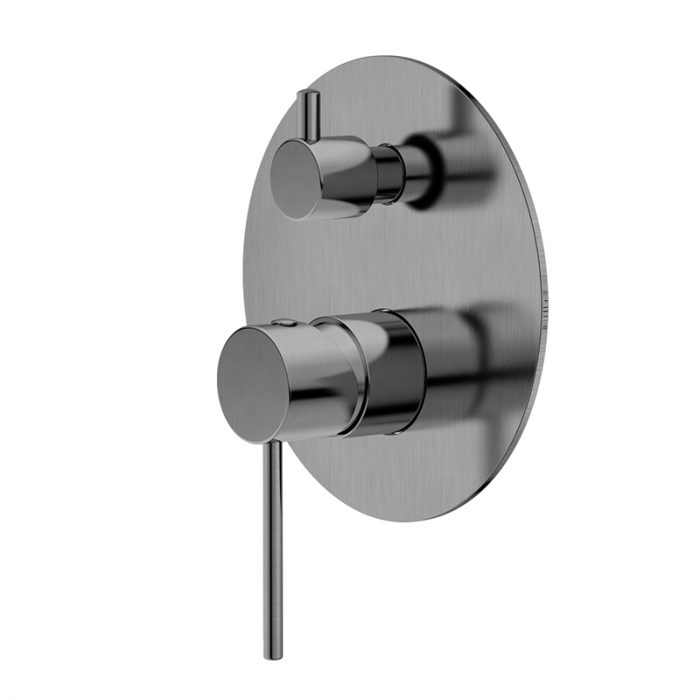 RUND Brushed Nickel Wall Mixer with Diverter