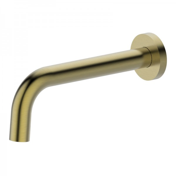RUND Brushed Gold Curved Wall Spout (200mm)