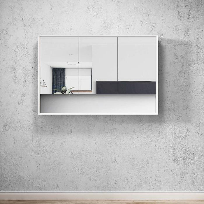BOSTON Matte White 1200mm Shaving Cabinet with Shelf