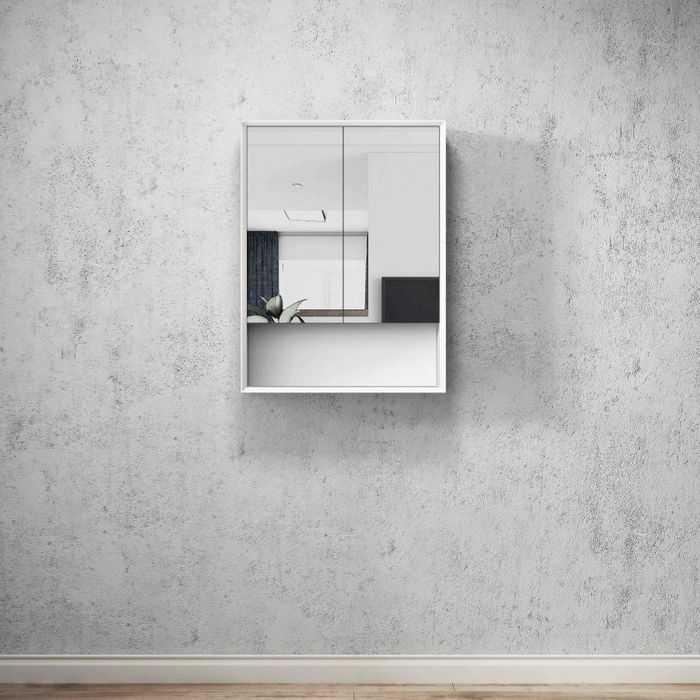 BOSTON Matte White 600mm Shaving Cabinet with Shelf