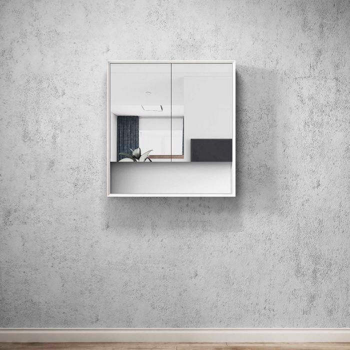 BOSTON Matte White 750mm Shaving Cabinet with Shelf