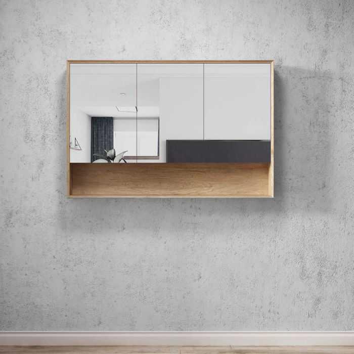 BYRON Natural Oak 1200mm Shaving Cabinet with Shelf