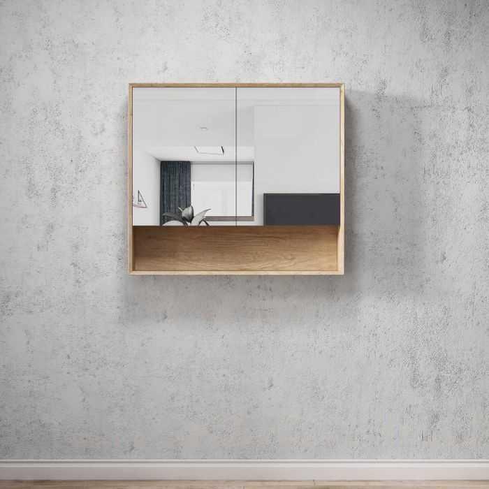 BYRON Natural Oak 900mm Shaving Cabinet with Shelf