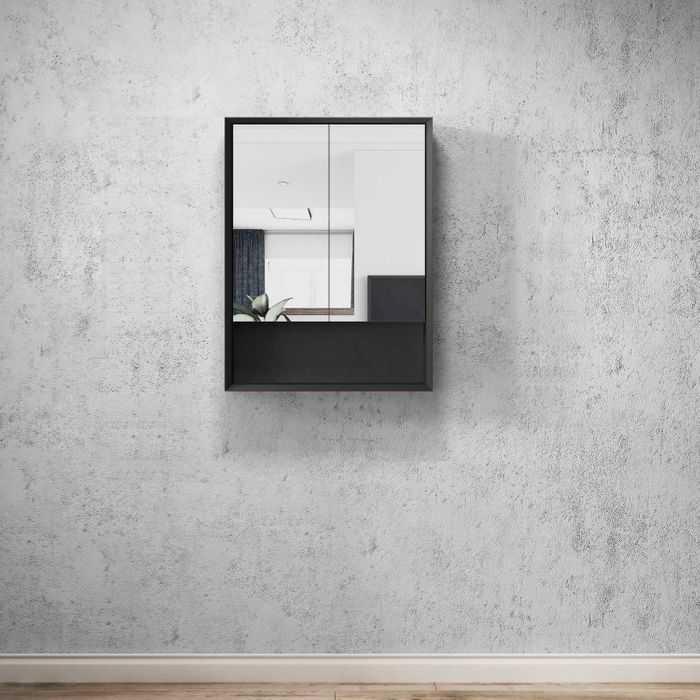 MARLO Matte Black 600mm Shaving Cabinet with Shelf