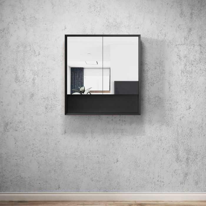 MARLO Matte Black 750mm Shaving Cabinet with Shelf